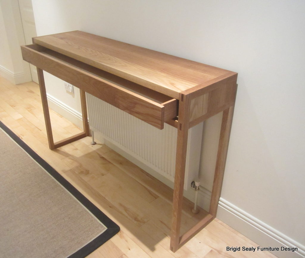 oak console table drawer
