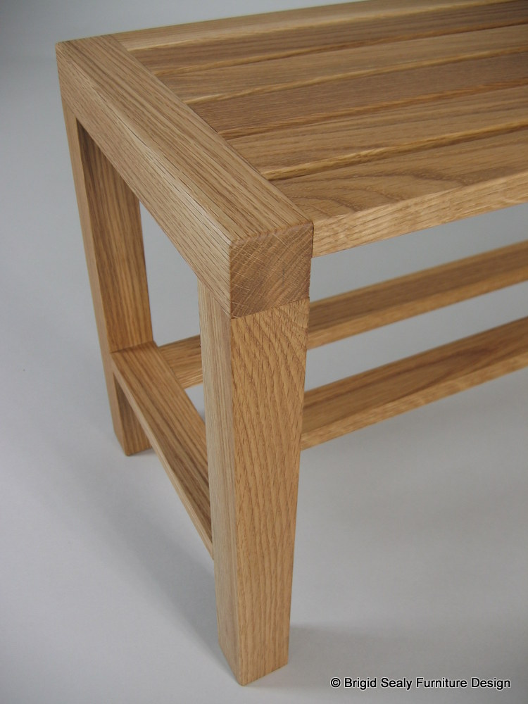 oiled oak bench detail