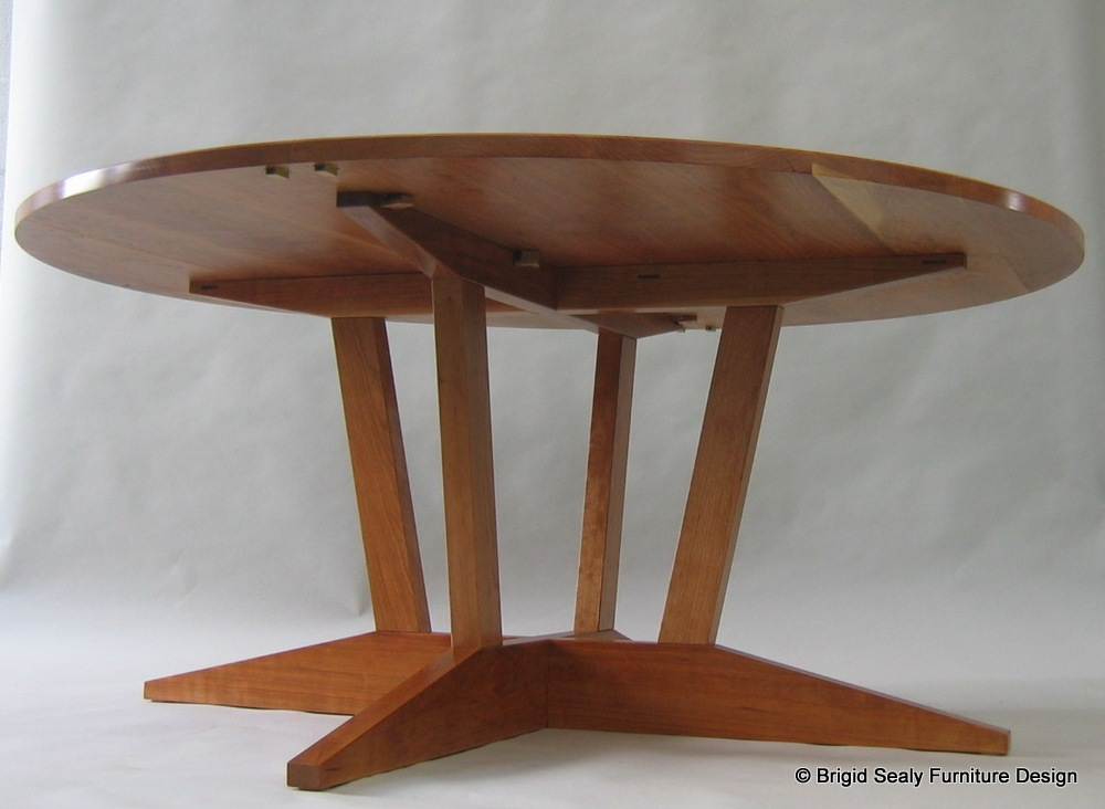 Underside view of cherry dining table